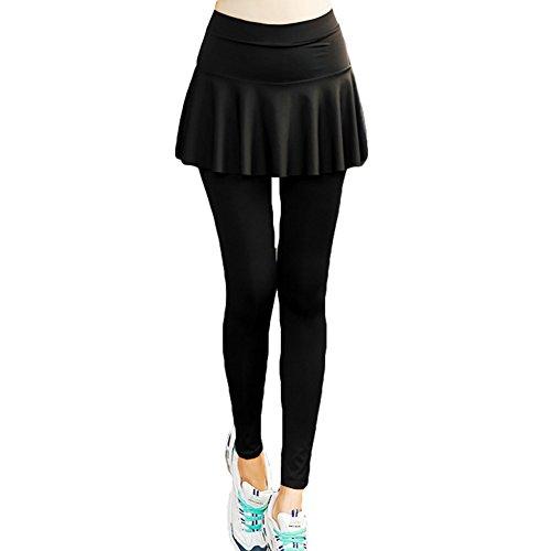 Sporthose Damen Leggings Röcke - Hibote Quick Dry Yogahose 2 Stück High Waist Elastisch Fitnesshose Weich Bequem Strumpfhose Rock Einfarbig Ballettkostüm Schwarz L-5XL (Nike Jersey Elastische Taille)