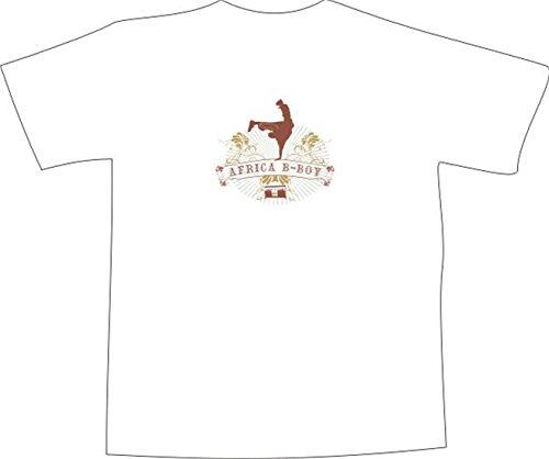 T-Shirt E313 Schönes T-Shirt mit farbigem Brustaufdruck - Logo / Grafik - abstraktes Design Breakdance / Disco mit Ranken Weiß