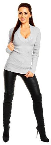 Zeta Ville - Top in maglia - Pullover a maniche lunghe - Scollo a V - Donna 906z Grigio