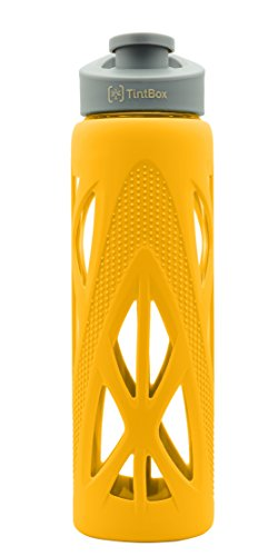 TintBox Borosilicate Glass Water Bottle 750 ml with Silicone Sleeve & Leak-Proof Flip Cap | Designed in Australia (Pulse Yellow)