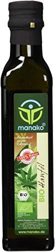 manako BIO Hanföl, kaltgepresst, 100{da13206e618b514af4fdffcbd9f45d4e2d503f55dfb0fbb8f4742c0426da783d} rein, 250 ml Glasflasche (1 x 0,25 l)