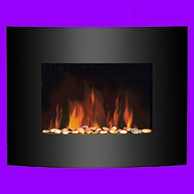 Real Pebble Flame Effect Electric Fire - Curve Front Black Glass - Wall Hanging