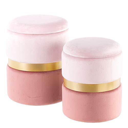 Puffs baúl de Terciopelo Rosa Modernos para salón France - LOLAhome