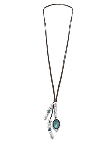 Beau Soleil Jewelry Damen Lederkette mit Anhänger Ibiza Style Lederschmuck Halskette Damenkette (Braunes Leder)