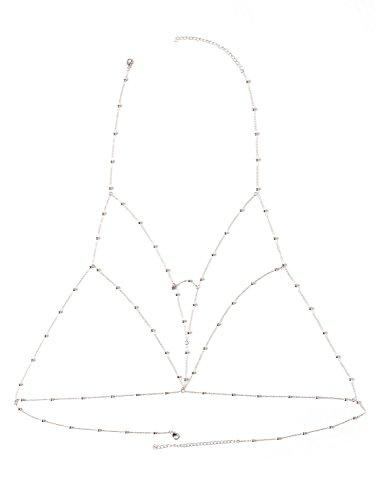 Simplee Apparel Damen Reizvoll Bikini Kette Körper Kette BH Schmuck Strand Körperkett Silber (Bh-körper)