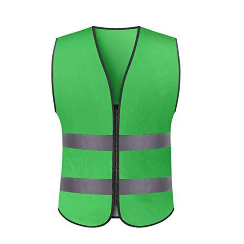 Nachtreiten reflektierende Kleidungsarbeit reflektierende Weste Verkehrsbau Warnweste Sicherheitskleidung (Color : Green, Größe : L) -