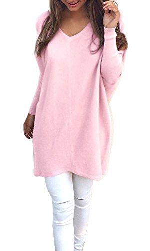 Minetom Donne Pullover Manica Lunga Con Scollo A V Allentato Lavorato A Maglia Maglione Ladies Casuale Felpe Camicetta Top Pink IT 42