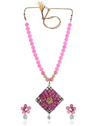 Tapestry Mart Pink Alloy Strand Necklace Set For Women (NS-07)