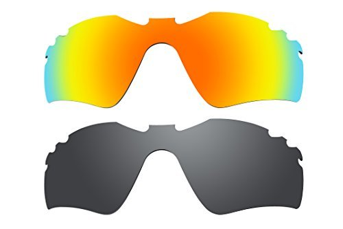 2 Pairs Lenses Replacement Polarized Fire Red & Black for Oakley Radar Path Vented Sunglasses by BVANQ