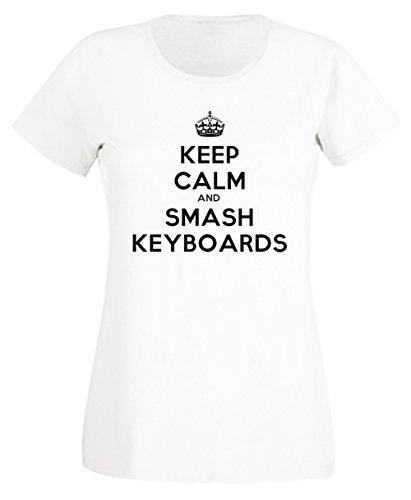 Keep Calm And Smash Keyboards Donna T-shirt Bianco Cotone Girocollo Maniche Corte White Men's T-shirt