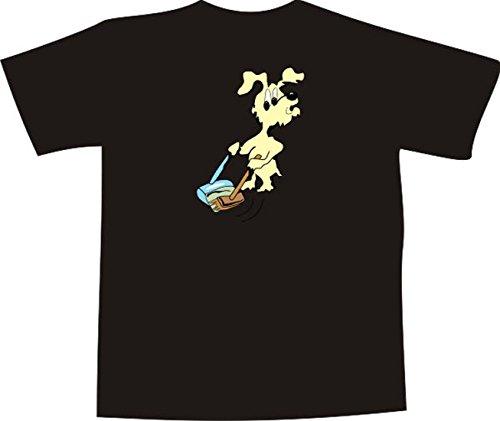 T-Shirt E678 Schönes T-Shirt mit farbigem Brustaufdruck - Logo / Grafik - Comic Design - Hund beim Hausputz mit Besen und Schaufel Weiß