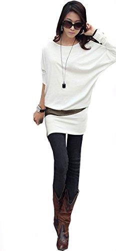 95-31 Mississhop Damen Minikleid festlich glitzer Kleid Pulli Tunika Creme S