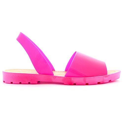 Damen Slingback Peep Toe Sliders Flip-Flops Festival Flatform Sandalen Rosa