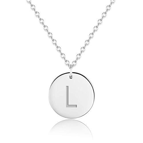 URBANHELDEN - Buchstaben-Kette - Silber Damen-Kette mit deinem Wunschbuchstaben - Wunschgravur Alphabet - Personalisierte Buchstabenkette - Schmuck Silber - Buchstabe L