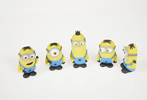 (Minions Figuren aus Zucker, 4 - 5,5 cm hoch, 5 Stück)