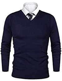 74d4934459eb1 iClosam Pull Homme col V Cardin Hommes Pull en Maille Pull en Coton  Classiques