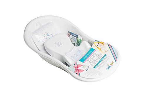 Tega Baby ® SET 5-teilig Badewanne Badesitz für Baby, ab 0 Monate mit eingebautem Thermometer - Anti-rutsch, GESCHENK für Neugeborene (Kaninchen WEIß)