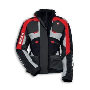 BikersGearGermany Giacca da Moto Impermeabile in Tessuto Nero e Rosso (EU - 6XL)
