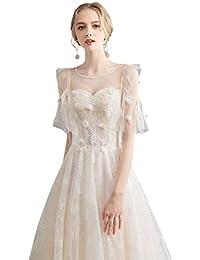 Vestido de novia Largo Sencillo Elegante Temperamento Vestido de Encaje Femenino Ailin Home (Color :
