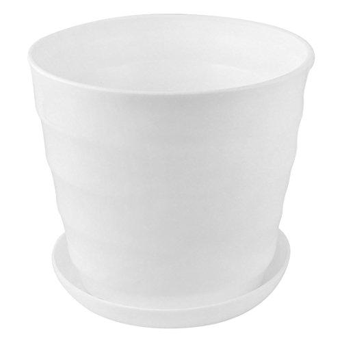 sourcingmap® Maison Bureau Balcon Plante ronde plastique porte Semoir Pot Fleurs blanc 19cm diamètre