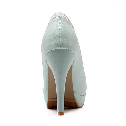 AllhqFashion Damen Ziehen Auf Rund Schließen Zehe Hoher Absatz Pu Rein Pumps Schuhe Blau