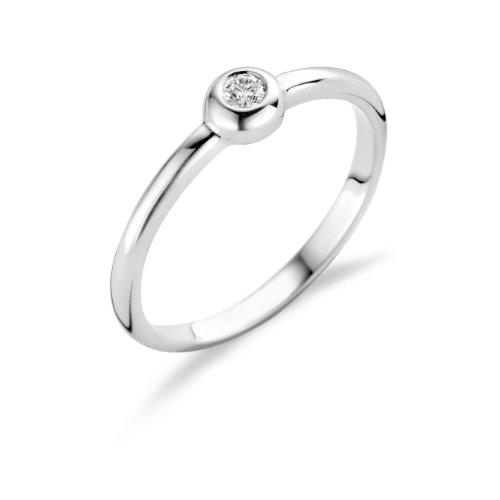 Miore Damen-Ring Solitär 925 Sterling Silber mit Brillant 0.06ct MSL006R