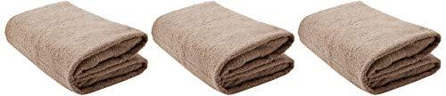 Lumaland Premium 3er Set Badetücher Handtücher Frottee 3 Badetücher Duschtücher 70 x 140 cm aus 100% Baumwolle 500 g/m² mit Aufhänger Taupe