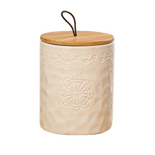 Home Collection Tarro de Loza Almacenaje Conservación Decoracion Hogar A17 cm D13 cm con Tapa de Bambú con Banda de Silicona para un Perfecto Cierre Hermético en Beige Decorado con Finos Ornamentos