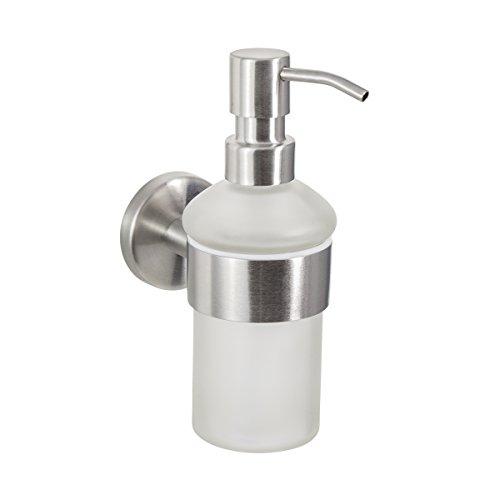 Baño Serie Firenze–Dispensador de jabón, robusto Acero Inoxidable Mate y cristal satinado, montaje a la pared Incluye Tornillos, apto para pegar–Se Vende por separado