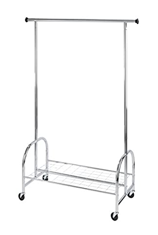 WENKO 4364810100 Kleiderständer Profi - rollbar, bis 100 kg belastbar, verchromtes Metall, 121 x 185 x 52 cm,