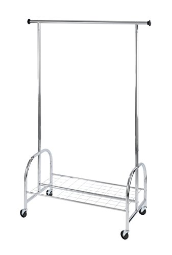 WENKO 4364810100 Kleiderständer Profi - rollbar, bis 100 kg belastbar, verchromtes Metall, 121 x 185 x 52 cm, Chrom