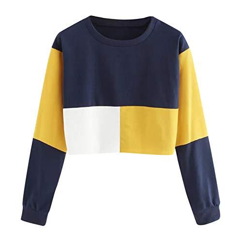 iHENGH Sweatshirt Damen,Women Herbst Casual Color Patchwork Sweatshirt Long Sleeve Short Pullover Tops Blouse Shirt Top (Gelb,EU-38/CN-L