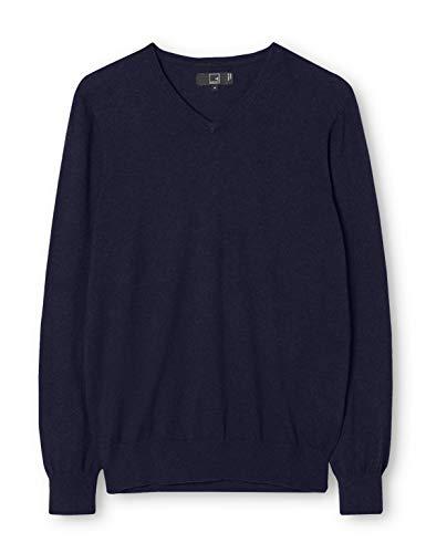 Meraki pullover cotone uomo scollo a v, blu (navy), large