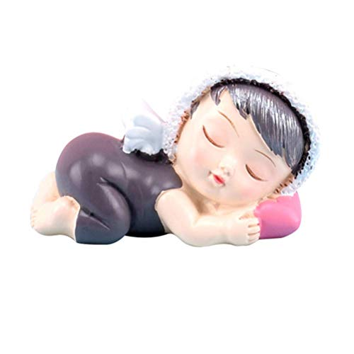 Torten Dekoration Kuchen Figur Schlafende Baby Engel mit Flügeln Kuchen Dekoration Ornament (Junge) (Color : -, Size : (Baby Engel Mit Flügeln)