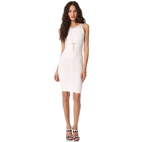 ... HLBCBG Damen Kleid Weiß Weiß Weiß - Weiß (2) ...