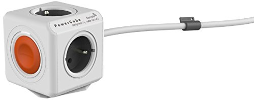 Allocacoc PowerCube Extended Remote Type E(FR) 4AC Outlet(s) 1.5m Gris, Color Blanco Base múltiple - Bases múltiples (Gris, Blanco, 16 A, 450 g, 1,5 m, 76 mm, 76 mm)