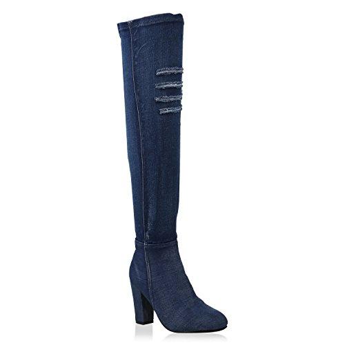 Denim Fashion Stiefel (Damen Overknees Denim Stiefel Cut-Outs Blockabsatz Schuhe 147381 Dunkelblau All 37 Flandell)