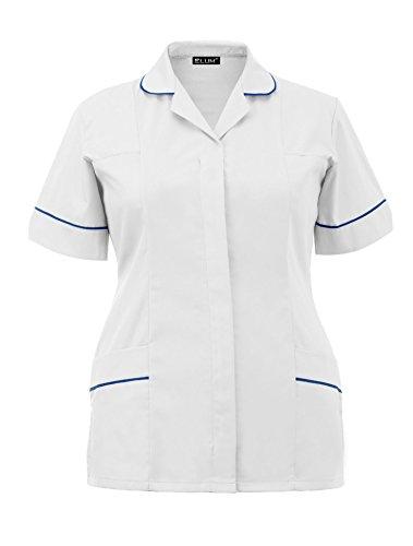 Uniform Scrub Top (Elum® Frauen Krankenschwestern Tunika Medizinische Uniform Salon Tierarzt Gesundheitswesen Dienstmädchen Peeling Anzug (Weiß, UK 20 = EUR 48))