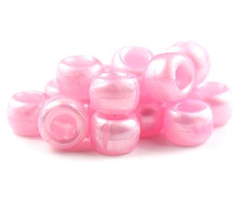 Blickdichte 100 x 9 mm x 6 mm hellrosa Glasperlen Perlen aus Pony - Drehkugelschreiber LOOM Bands Armband geflochten Dummy Clips Haar Farbe Kunststoffschaft Acryl Rund Ketten - Perlen und Charms -