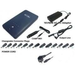 Hochwertiger Akku für Notebooks Extern    Spannung: 16V / 19V    sehr hohe Kapazität: 153Wh    Li-Ion-Technologie    viele Adapter im Lieferumfang enthalten    inkl. Kfz-Kabel    inkl. Netzkabel