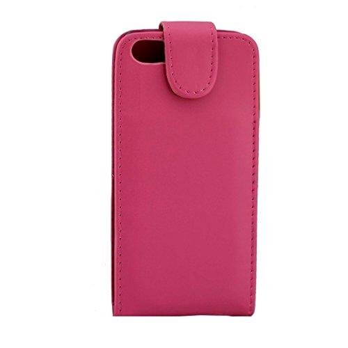 iPhone Case Cover Pour iPhone 7 ordinaires texture vertical Flip étui en cuir avec fente pour carte ( Color : Purple ) Magenta