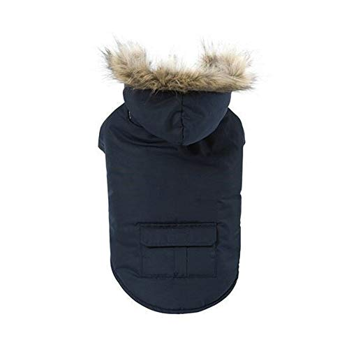 SWJ-Dog Warm Coat Hund Warmen Mantel Pet Kleidung Baumwolle Jacke Mit Hut Daunenjacke Kleidung Teddy Gesetz Eimer Herbst Und Winter Universal, 3 Farben,Blue-L