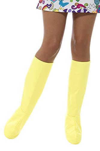Smiffys Damen GoGo Stiefel Überzieher, One Size, Gelb, - Einfach Paar Kostüm Zu Machen
