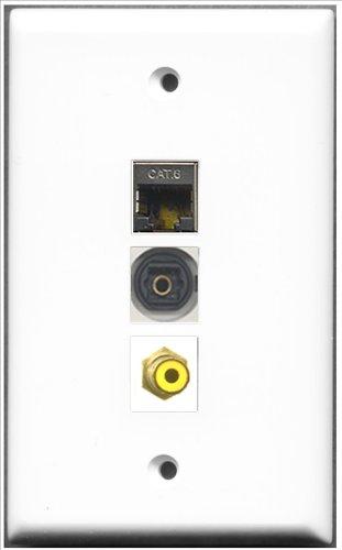RiteAV–1Port RCA gelb und 1Port geschirmt, Cat. 6Ethernet und 1Port Toslink-Wall Plate