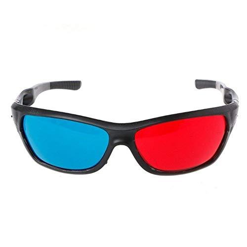 3D-Brille Universal White Frame Rot Blau Anaglyphen 3D-Brille Für Movie Game DVD Video TV (Color : Black)