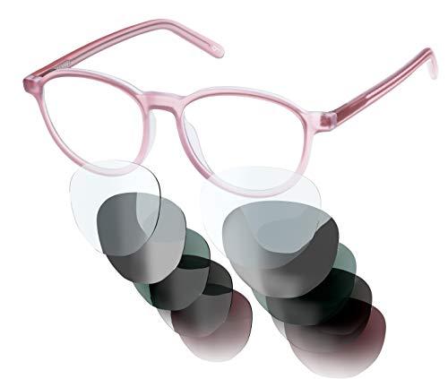 Sym Brille mit wählbarer Sehstärke von -4.00 (kurzsichtig) bis +4.00 (weitsichtig)   Auswechselbare Gläser in 6 Farben   Für Damen & Herren (Unisex)   Modell 01   Crystal Skin Tone Pink   Matt