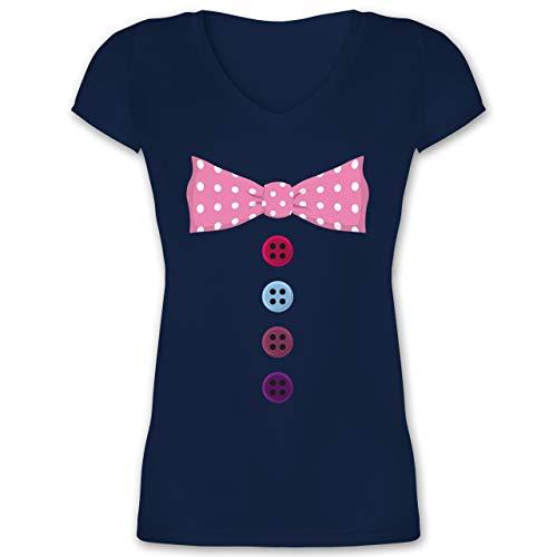 (Karneval & Fasching - Clown Kostüm rosa Fliege - M - Dunkelblau - XO1525 - Damen T-Shirt mit V-Ausschnitt)