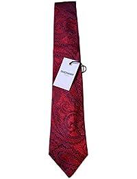 DUCHAMP London Men's 100% Woven Silk Neck Tie - Red Paisley Patterned Design