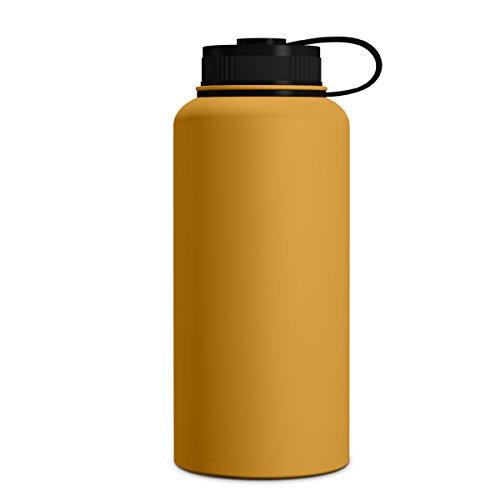 Geo Sport-Wasserflasche, doppelwandig, vakuumisoliert, Edelstahl, auslaufsicher, breite Öffnung, BPA-freier Schraubverschluss, Mango