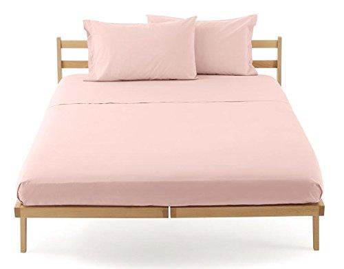Lenzuolo piano sopra zucchi clic clac percalle di puro cotone letto matrimoniale cm 250 x 290 100% made in italy (rosa - 1176)